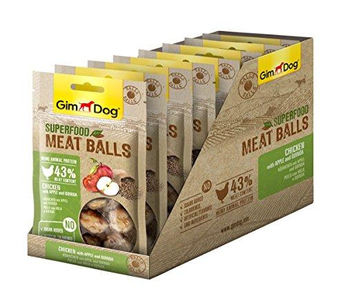 GimDog Superfood Meat Balls Hühnchen mit Apfel und Quinoa | Mono-Protein Hundesnack mit hohem Fleischanteil | ohne Zuckerzusatz | 8 Beutel (8 x 70 g)