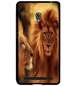 ColourCraft Lions Beautiful Painting Design Back Case Cover for ASUS ZENFONE 6 A600CG