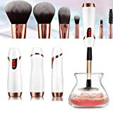 Neobit Makeup Brush Cleaner and Dryer Professional Automatic Electric USB Rechargeable 360 Rotation with 8 Rubber Collars | Quick and Easy Cleaning and Fits Most of Makeup Brushes (White)