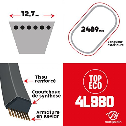 Courroie tondeuse 4L980 prix éco, Kevlar Trapézoïdale 12,7 mm x 2489 mm - Pièce neuve