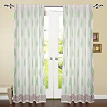 Valentine's Day Gift Ideas by Linenwalas 2 Piece Hand Block Leaf Print with Maroon Border 100% Cotton Window Curtain (Set of 2) - White,Parrot Green - 5ft