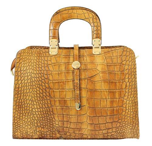 CTM sac femmes Sac à main classique avec imprimé crocodile, 37x26x14cm, en cuir véritable 100% Made in Italy