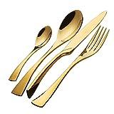 Buyer Star 4 pezzi Posate, Oro Acciaio inossidabile Nozze Set di utensili per posate, Cucchiaio da dessert Cucchiaino Coltello Forchetta