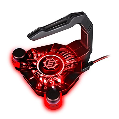 ENHANCE Mouse Bungee mit USB Hub: Gaming Kabelhalter für erhöhte Genauigkeit bei professionellen eSports und Competitive Games, inklusive 4 USB Ports, rote LED Beleuchtung
