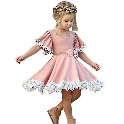 Babykleidung Honestyi Kinder Baby Mädchen Kleid Spitze Floral Party Kleid Kurzarm Solid Dress Kleidung (Roas,120)