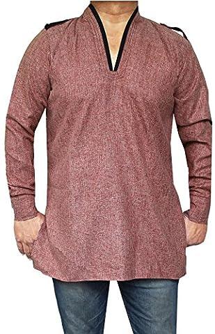 Cotton Mens Short Kurta Dress Shirt Indian Fashion Clothing (Maroon, L)