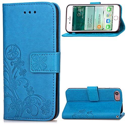 Gray Plaid Design Goffratura Quattro Foglie Trifoglio [Chiusura Magnetica] [Shock-Absorption] PU Flip Card Holder Protettiva Portafoglio Wallet Case Cover Custodia per iPhone 7 - Azzurro Azzurro