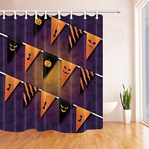 Kürbis Flagge Trick Or Treat Bad Vorhang Lange Duschvorhang für Bad Duschvorhänge 180X180 cm ()