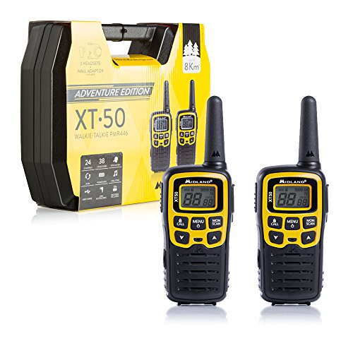 Midland XT50 Adventure PMR-Walkie Talkies Kofferset, 2x leistungsstarke Outdoor-Funkgeräte für Kinder und Erwachsene, mit LCD-Display und Micro-USB-Ladebuchse