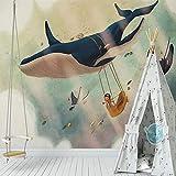 WAHAZC Große Wandbilder Seide Tapete 3D Wandgemälde Europäischen Stil Wal Tapeten 3d Wand für Kinder Wand dekorative benutzerdefinierte Größe Fototapete Wandbild Papier Peint Enfant TV Hintergrund W