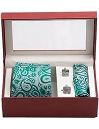 Vibhavari Men's Green Tie, Pocket Square & Cuff links - Set