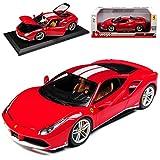 Bburago Ferrari 488 GTB Rot The Michael Schumacher Limited Edition 70 Jahre Ferrari Geburtstag 1/18 Modell Auto mit individiuellem Wunschkennzeichen
