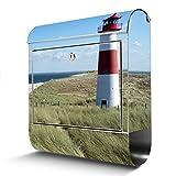 BANJADO Edelstahl Briefkasten mit Zeitungsfach, Design Motivbriefkasten, Briefkasten 38x43,5x12,5cm groß Motiv Leuchtturm