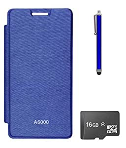 TBZ Flip Cover Case for Lenovo A6000 ? with 16GB MicroSD and Stylus -Royal Blue