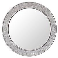 Round Mosaic Wall Silver Mirror - Large - 60 cm diameter - Bathroom Lounge Hallway