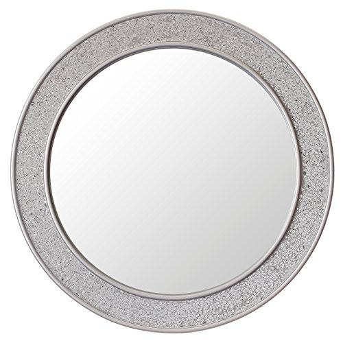 Round Mosaic Wall Silver Mirror - Large - 60 cm diameter - Bathroom Lounge Hallway