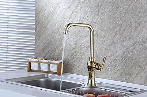 MangeooAntike Küche, Waschbecken, heißen und kalten Wasserhahn, Tyrann gold champagne Küche, Einloch gemischten Wasserhahn