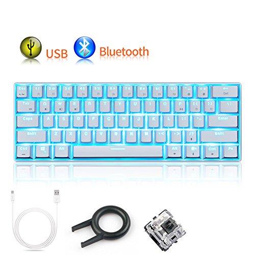 Cap Taste (Mechanische Tastatur RK61von UrChoiceLtd®, mit USB oder kabellos per Bluetooth, 61Tasten mit LED-Hintergrundbeleuchtung, ergonomische Quickfire Tasten, wasserdicht, mit vollständig Anti-Ghosting-Tasten und Cap-Puller-Tasten, wiederaufladbarer Lithium-Ionen-Akku, geeignet für Gamer und Schreibkräfte)