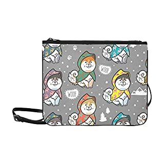 Cute Siberian Husky Puppies Custom High-grade Nylon Slim Clutch Bag Cross-body Bag Shoulder Bag