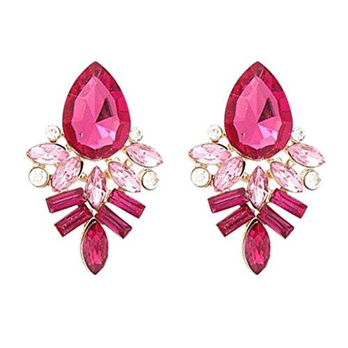 Schmuck Kostüm Ohrringe Diamant - Hosaire 1 Paar Ohrringe Damen Mädchen Stein Ohrringe Fashion Süßes Kristall Diamant glitzernden Ohrstecker Geschenk (Rose)