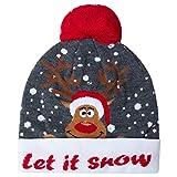 AIDEAONE Berretto di Natale Natalizio a Forma di Renna a Forma di Cappello da Babbo Natale con Divertenti luci a LED