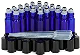Vivaplex, 24, Cobalt Blue, 10 Ml Glass Roll-On Bottles With Stainless Steel Roller Balls. 3-3 Ml Droppers Included
