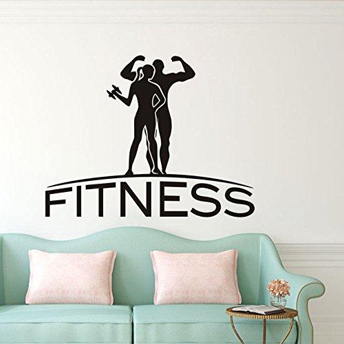 yaoxingfu Sport Paar und Zitat Fitness wandaufkleber abnehmbare Vinyl wandtattoo für Gym perfekte qualitätwohnkultur wohnzimmerz54x42 cm