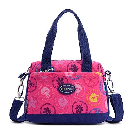 Tiny Chou leicht wasserdicht Nylon top-handle Crossbody Handtasche Sport Schultertasche für Mädchen, Pink - Plum Mushrooms - (Mädchen Handtasche)