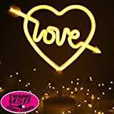 XIYUNTE Amor Señales luminosas neón Luz de noche, blanco Amor luces de neón Lámparas Iluminación infantil nocturna Dormitorio Decoración,Batería y USB alimentado Luces de noche con pedestal Lámparas
