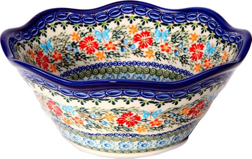 Polish Pottery Ceramika Boleslawiec Bowl Viki Cups, Royal Blue Patterns with Red Cornflower and Blue Butterflies Motif, 6-1/2-Inch - Cornflower Blue Cup