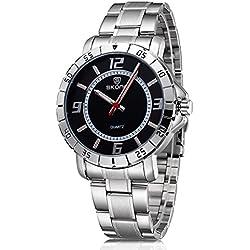 Skone Mens Fashion Business Luminous Pointer Watch 504301, Silver White