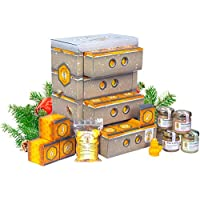 NEU! Honig Adventskalender in hochwertiger Bienenkasten-Optik mit 4 Schubladen á 6 Boxen – naturbelassener Honig zum Verschenken oder Kennenlernen | Geschenkset mit 20 Sorten Honig, Honigbonbons und Bienenwachskerzen - klassischer Honig, Raritäten und Kreationen