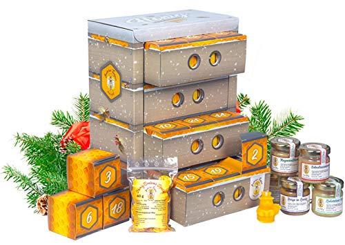 Honig Adventskalender in hochwertiger Bienenkasten-Optik - naturbelassener Honig zum Verschenken oder Kennenlernen | Geschenkset mit 20 Sorten Honig, Honigbonbons und Bienenwachskerzen