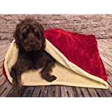 Snuggle Sleeping bag/ Pet bed for cats or dogs by Lola's Pet Red & Cream (Medium 75cm wide x 70cm high)