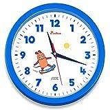 """Wanduhr - Die Sendung mit der Maus """"Edition Abenteuer"""" (Analoge Uhr ohne Tickgeräusche, 25 cm Durchmesser, präzises Quarz-Uhrwerk) blau"""