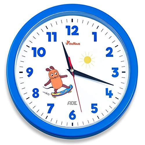 """Wanduhr - Die Sendung mit der Maus \""""Edition Abenteuer\"""" (Analoge Uhr ohne Tickgeräusche, 25 cm Durchmesser, präzises Quarz-Uhrwerk) blau"""