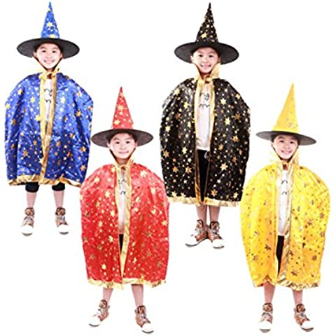 Finerolls disfraces de Halloween para niños sombrero de la bruja traje de Cosplay Asistente Sombrero claveteado del Cabo para Niños