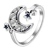Moon y Little Star Open Rings Anillos de Cristal Ajustables para joyería de Aniversario de Boda