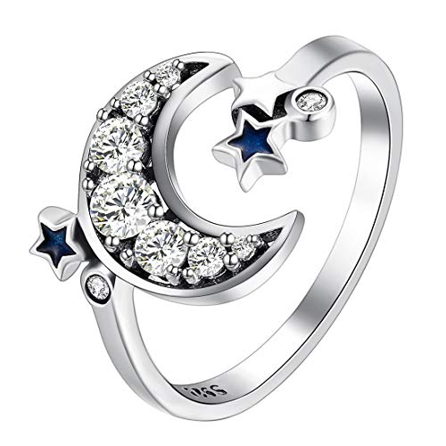 Moon Little Star Open Rings Anillos Cristal Ajustables