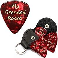 My Grandad Rocks Red Guitar Picks With Leather Plectrum Holder Keyring