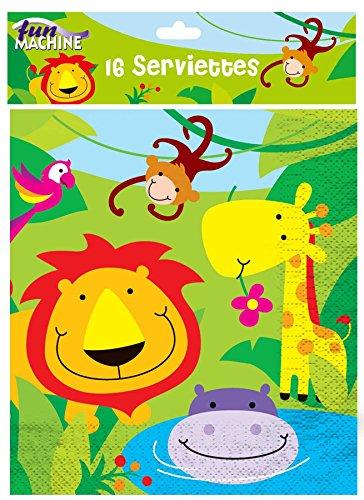 Geburtstagströte mit Dschungel-Motiven, Tröte zum Geburtstag von Jungen, Mädchen, Kindern, mit Zoo, Affe, Löwe, Papier, Serviettes, Pack Of 16