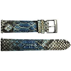 Watch Strap in Blue Python - 20 - - buckle in stainless steel - B20030
