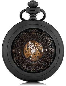 Alienwork Retro Handaufzug mechanische Taschenuhr Skelett Uhr graviert schwarz Metall W891-09