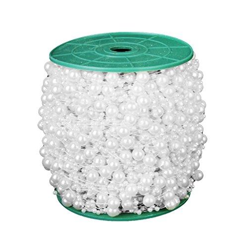 Preisvergleich Produktbild Rollenkette - SODIAL(R) Rollen Weiss Gefaelschte Perlen Runde Perle Perlenkette DIY Dekoration Handwerk
