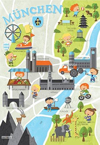 Kinder | Kinderzimmer Deko | Plakat Kinderstadtplan | Kinderposter | Stadtplan für Münchner Kinder A3 Bayern ()