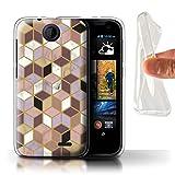 Stuff4 custodia/cover/Skin/HTC GC/Marble Pattern geometrici Collection Geometrische Würfel HTC Desire 310
