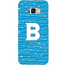 YuBingo Soft Silicone Designer Printed Mobile Back Case Cover for Samsung Galaxy S8 Plus | Bold Letter B (Waivy Blue Pattern Printed on Plastic) | UV Printed | Waterproof | Shockproof | Slim | Light