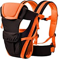 Chinmay Kids Baby Carrier Bag with Hip Seat and Head Support for 4-12 Months WB (Orange)