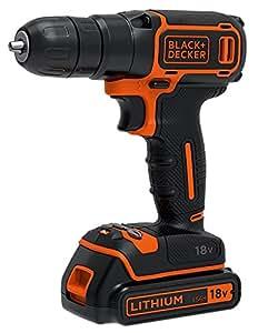 BLACK+DECKER BDCDC18KB-QW Trapano Avvitatore, con Doppia Batteria al Litio, 18 V, 1.5 Ah, Valigetta, Arancione