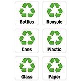 6x Recycling-Aufkleber für Mülleimer/Abfalleimer, Vinyl, für Laden, Büro, zuhause, für Flaschen, Papier, Dosen, Kunststoff